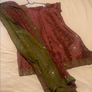 Gorgeous pure silk sequin embroidered Indian suit